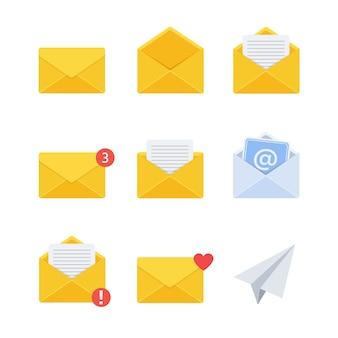 Wiadomość. ikona nowej wiadomości e-mail przychodzącej. płaski styl