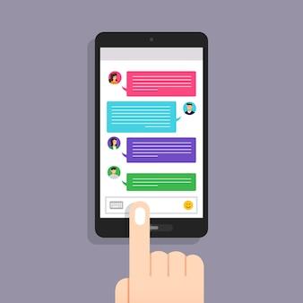 Wiadomość koncepcyjna i czat. prezentacja za pomocą ikony wiadomości tekstowej. zilustrować