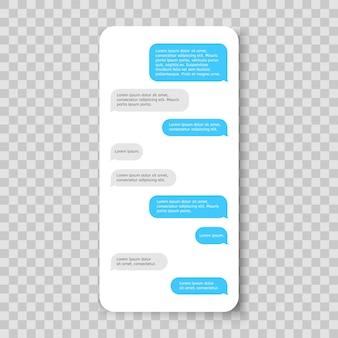 Wiadomość na smartfonie z szablonem komunikatora czatu na telefon komórkowy