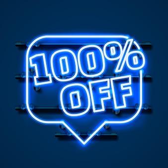 Wiadomość neon 100 off baner tekstowy. znak nocy. ilustracja wektorowa