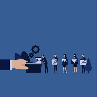 Wiadomość obrazkowa z teledyskiem do zarządzania treścią multimedialną dla biznesu.