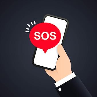Wiadomość sos w telefonie lub 911 dzwoniąca w płaskim stylu i pierwsza pomoc lub smartfon z ekranem połączenia