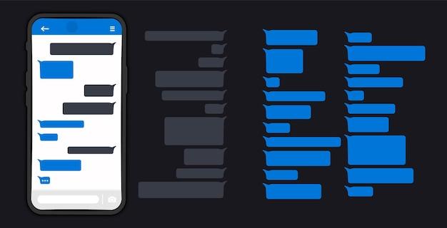 Wiadomości bąbelki. wiadomości na ekranie smartfona. czat wiadomości na telefon płaski kształt wiadomości pęcherzyki na ekranie. dymki wiadomości na czacie. szablon projektu bąbelki do czatu komunikatora. tryb ciemny lub nocny