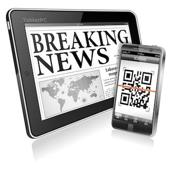 Wiadomości cyfrowe na komputerze typu tablet i smartfonie