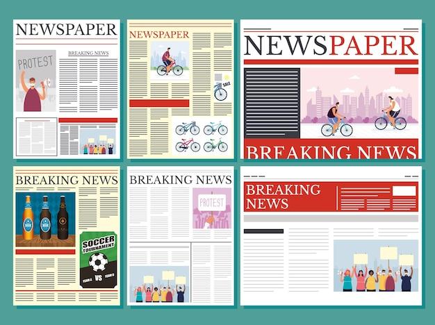 Wiadomości gazety komunikacja zestaw ilustracji wzoru kolumny