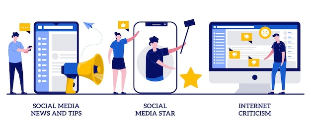 Wiadomości i wskazówki dotyczące mediów społecznościowych, gwiazda mediów społecznościowych, krytyka internetowa. treści cyfrowe, zestaw influencerów