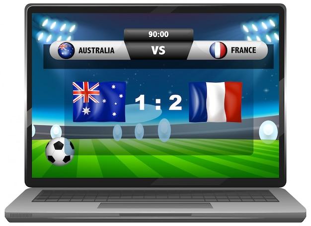 Wiadomości o meczu piłki nożnej na ekranie laptopa na białym tle