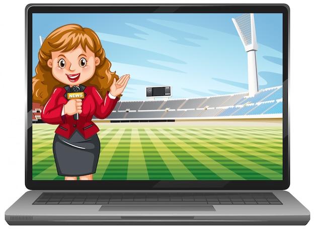 Wiadomości sportowe na ekranie laptopa na białym tle
