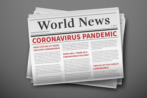 Wiadomości z epidemii. makieta gazety koronawirusa. strona papierowa z biuletynem informującym o epidemii coronavirus. makieta codziennej gazety. wiadomości związane z covid-19