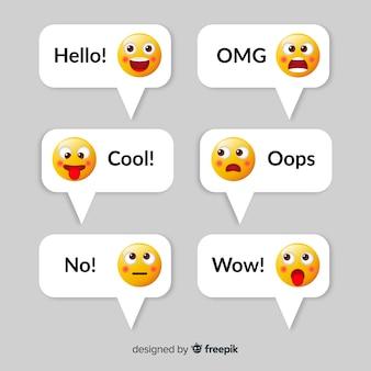 Wiadomości z kolekcją elementów emoji