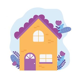 Wiadomości z koronawirusa, pozostań w domu, fasadowe kwiaty na zewnątrz domu