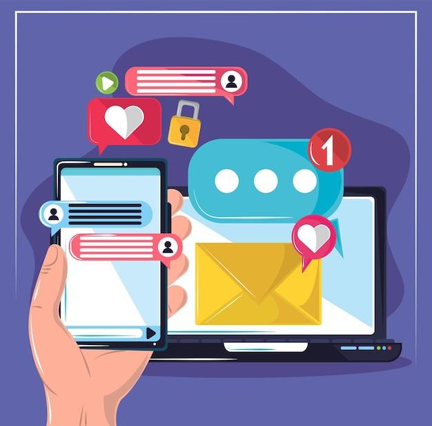 Wiadomości z laptopa i telefonu komórkowego