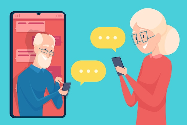 Wiadomości ze starej osoby. dialog ze smartfonem randki starszej osoby, mężczyzny i kobiety, rozmowa online o koncepcji starszych postaci.