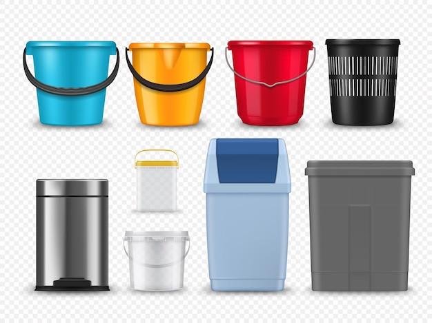 Wiadra plastikowe, kosze na śmieci i makiety pojemników. realistyczne wektorowe kolorowe wiadra lub wiadro z uchwytami, biurowymi plastikowymi i metalowymi koszami na śmieci i kanistrami, słoikami z farbą lub produktami spożywczymi