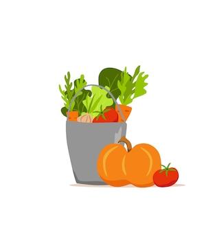 Wiadro metalowe warzywa ilustracja kolorowy kreskówka wektor. koncepcja rynku żywienia wegetariańskiego cebula dynia pomidor marchew i inne produkty. pakiet dostawy zdrowej żywności ekologicznej