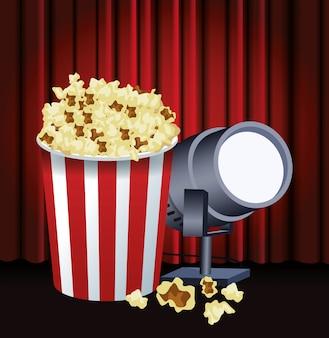 Wiadro na popcorn i światło sceniczne