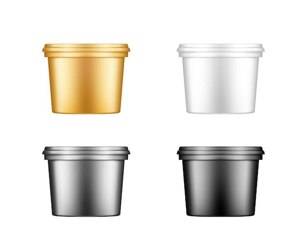 Wiadro z lodami, jogurtem, majonezem, farbą lub szpachlą z plastikowymi makietami czapek