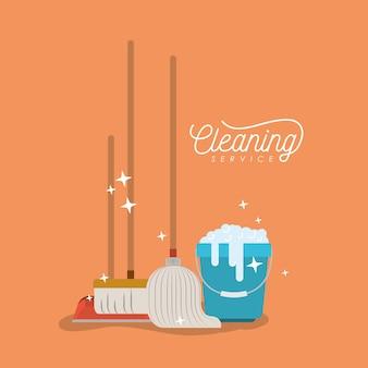Wiadro z pianką mydlaną i czyszczeniem elementów