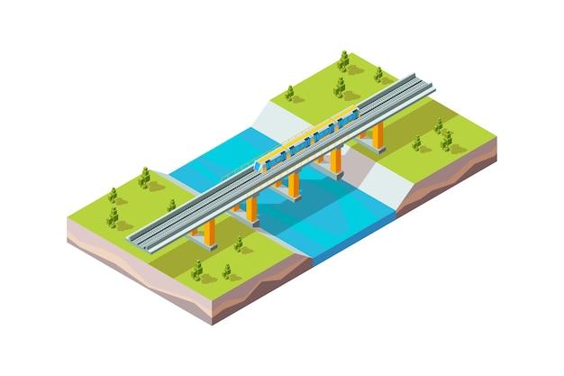 Wiadukt kolejowy. pociąg miejski nad rzeką nowoczesne miasto infrastruktury kolejowej wektor izometryczny. pociąg kolejowy, ilustracja mostu transportu kolejowego