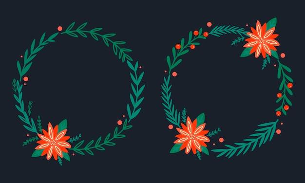Wianek bożonarodzeniowy z gwiazdą betlejemską i sosną. ramka na wakacje.