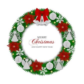 Wianek bożonarodzeniowy z papierowymi kulkami dzwonki aniołki i kwiaty poinsecji papierowy wianek bożonarodzeniowy