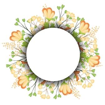 Wianek kwiatowy na vintage label. ilustracja.