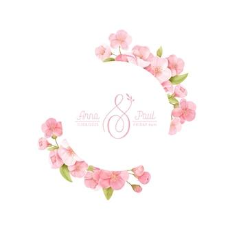 Wianek kwiatowy z realistycznymi kwiatami wiśni, egzotyczny kwiat sakury. ilustracja szablon transparent wektor wiosna. nowoczesne zaproszenie na ślub, modna kartka z życzeniami, luksusowy design, kupon, broszura, ulotka