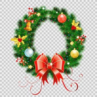 Wianek świąteczny z czerwoną kokardką, cukierkami, bombkami i dekoracją świąteczną. na przezroczystym tle