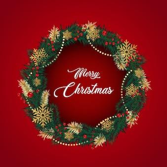 Wianek świąteczny z gałązek sosny, jagód, kwiatów bożonarodzeniowych.