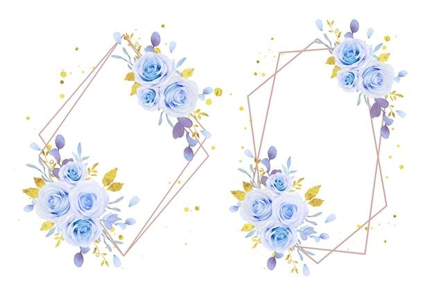 Wianek z akwareli niebieskich róż