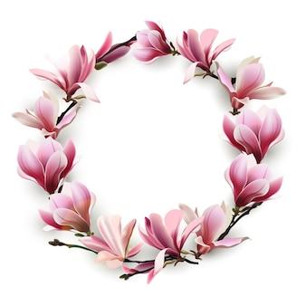 Wianek z delikatnych kwiatów magnolii w kolorze różowym. szablon na kartki urodzinowe, karty dzień matki, kartkę z życzeniami szczęśliwych walentynek, tło wiosna, baner, zaproszenia. wektor.