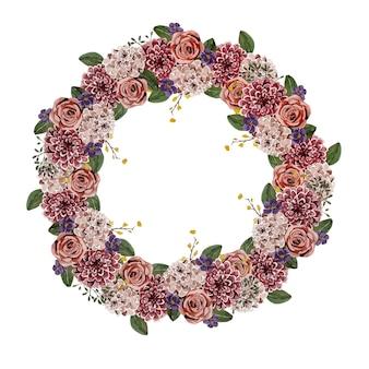 Wianek Z Kwiatów Akwarelowych Na Wyjątkową Okazję Premium Wektorów