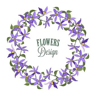Wianek z powojników niebieskich. kwiaty ogrodowe