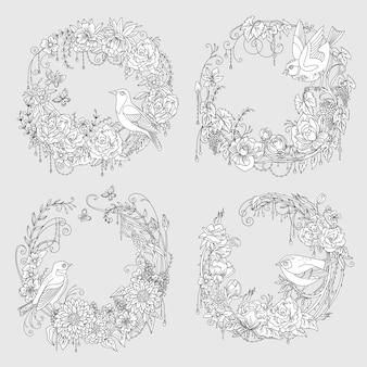 Wianek z ptakiem i kwiatami w kompozycji koła. wektor ilustracja kolorowanie na białym tle.