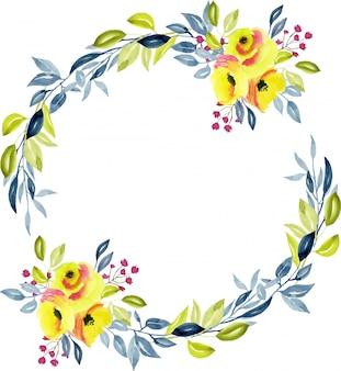 Wianek z żółtymi różami, niebieskimi i zielonymi gałęziami