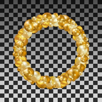 Wianek złote piłki na przejrzystym tle