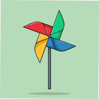 Wiatraczek kolorowy kreskówka wektor ilustracja