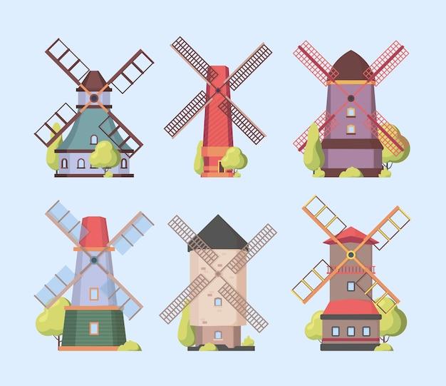 Wiatrak. holenderski holenderski autentyczne konstrukcje wiatraki zestaw kolekcja wektor. budowa gospodarstwa ze śmigłem, ilustracja holenderskiej wioski gristmill