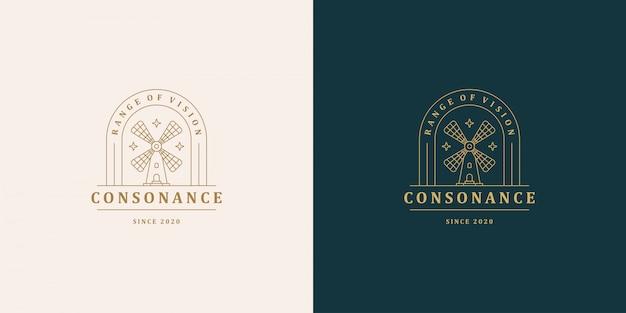 Wiatrak symbol wektor logo emblemat projekt szablon ilustracja prosty minimalny styl liniowy