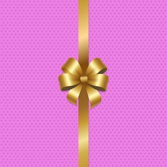 Wiązany złoty łuk ze wstążką w środku różu