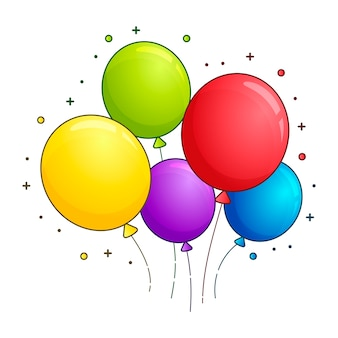 Wiązka balonów w płaski kreskówka na białym tle