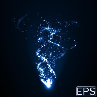 Wiązka energii z cząstkami i gładkimi śladami energii. niebieska wersja.