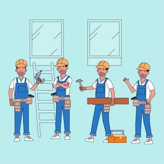 Wiązka postaci osoby wykonujące zawody stolarskie ze sprzętem. płaska ilustracja