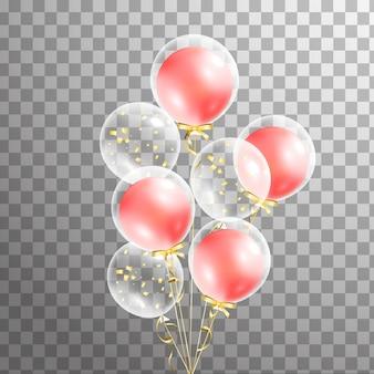 Wiązka przejrzysty balon na tle. balony matowe na imprezę. balony odizolowane w powietrzu. dekoracje na urodziny, rocznicę, uroczystości. połysk przezroczysty balon.