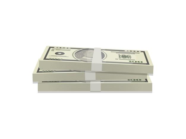 Wiązki dolarów na białym tle izometryczny ikona