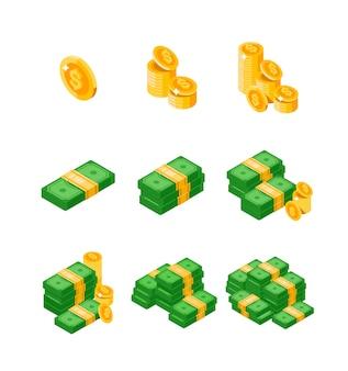 Wiązki izometryczny dolarów rozrzucone, ułożone z różnych stron na białym tle. dolary i monety. złocista pieniądze sterta dolar monet pieniądze znak, isometric. płaskie pieniądze.