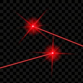 Wiązki laserowe izolowane. wektor świecące czerwony laser.