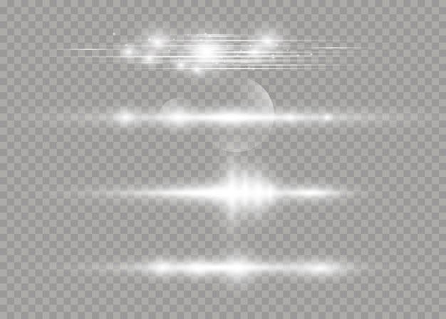 Wiązki laserowe, poziome promienie światła. piękne rozbłyski światła. białe świecące światło wybucha na przezroczystym tle.