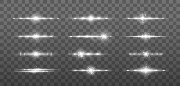 Wiązki laserowe, poziome promienie światła. świecące smugi na jasnym tle.