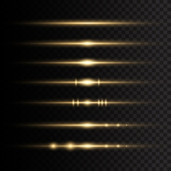 Wiązki laserowe, poziome promienie światła. żółte świecące światło wybucha na przezroczystym tle. promienie słoneczne. piękne rozbłyski światła.